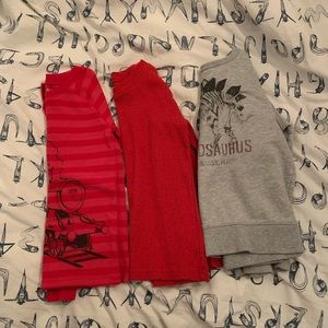 Lot of 3 boys small long sleeve shirts